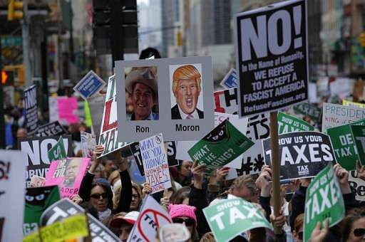Trump Claims Tax March Demonstrators Were Paid