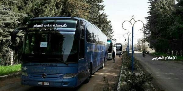 Buses gathered before a planned evacuation of residents in two opposition-held areas near Damascus, Syria. (File photo | AP)