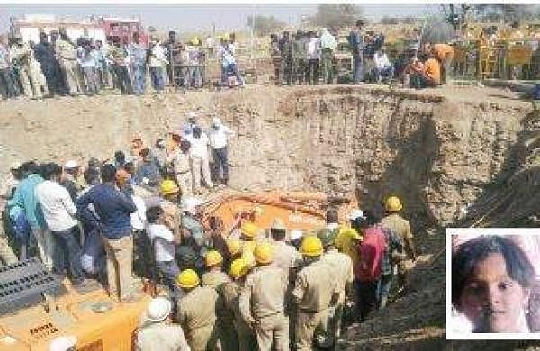 Six-year-old girl Kaveri who was stuck at 28 feet in the 400-feet deep borewell was found dead on Monday night; Kaveri Madar (inset) | Express
