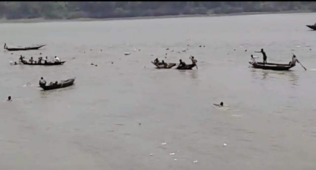 NDRF personnel found the seven bloated bodies including that of a woman floating on the river this morning