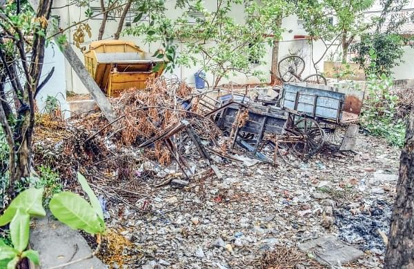 The park and a vacant space in Labour Colony at Bhavanipuram in Vijayawada, which turn dump yards. | Express Photo Service