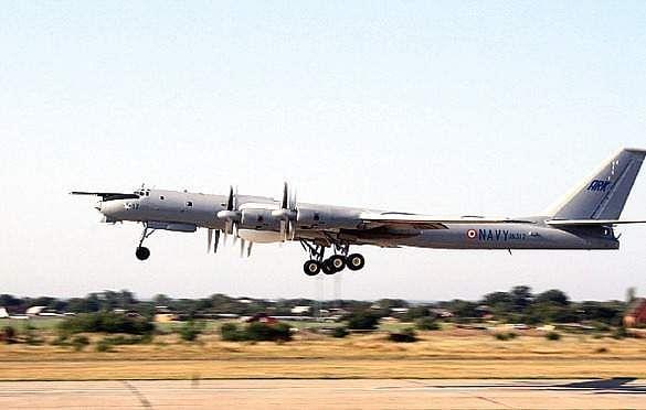 TU-142 M aircraft lands at Vishakhapatnam