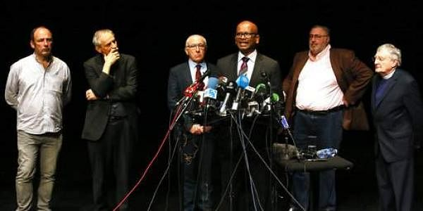 Ram Manikkalingam, third right, a member of the commission overseeing the Basque group ETA's ceasefire, announces delivery of ETA weapons to French authorities during a press conference in Bayonne, southwestern France. (Photo | AP)