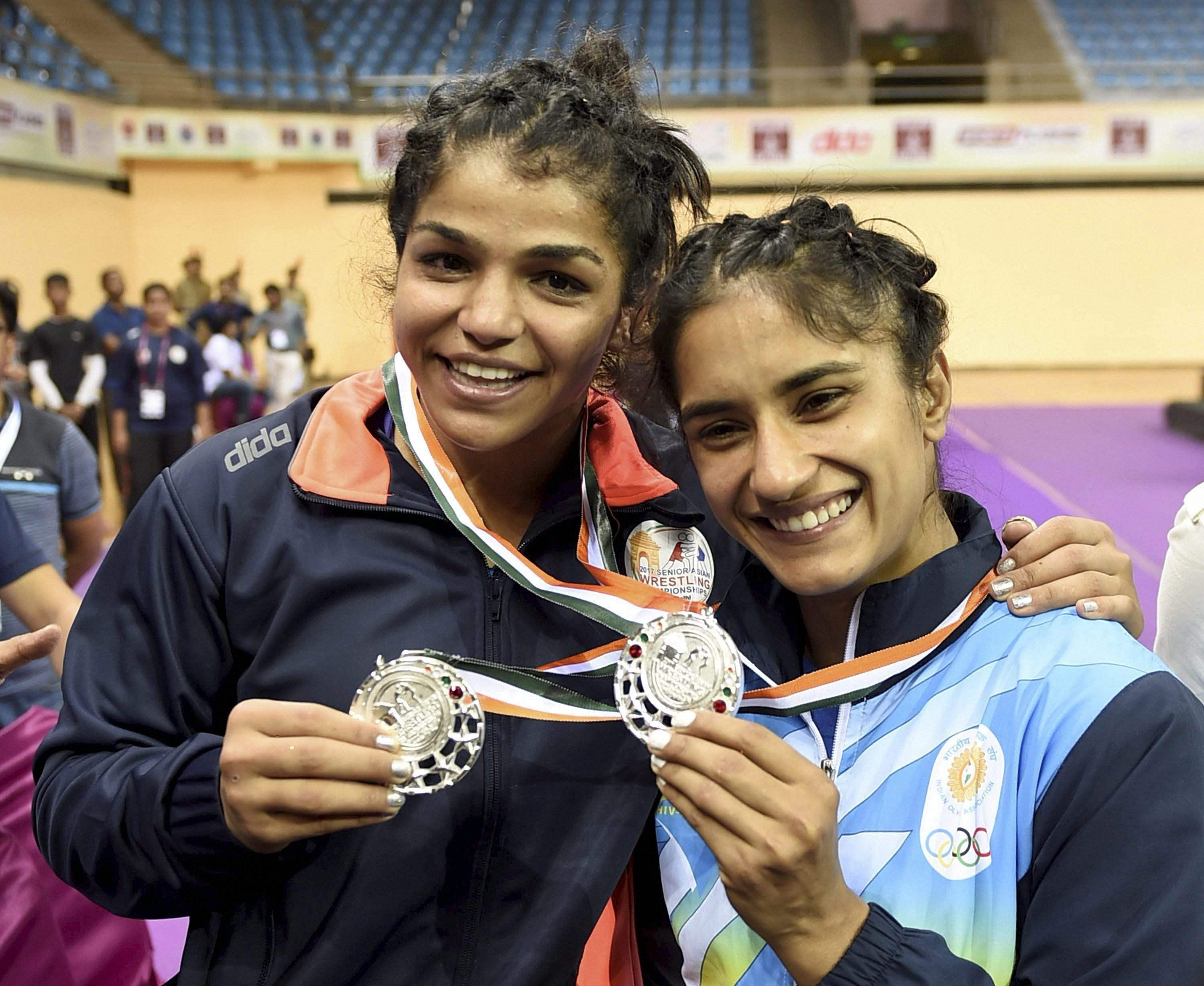 Sakshi Malik, Vinesh Phogat win silver at Asian Wrestling Championship