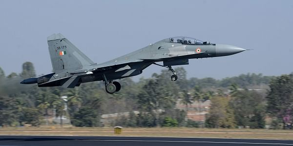 Indian Air Force Sukhoi perform during Aero India in Bengaluru on Thursday. (Pushkar V|EPS)