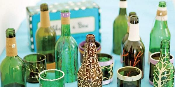 decorated glass bottles. Decorated glass bottles and lamps Clear cut creativity  The New Indian Express