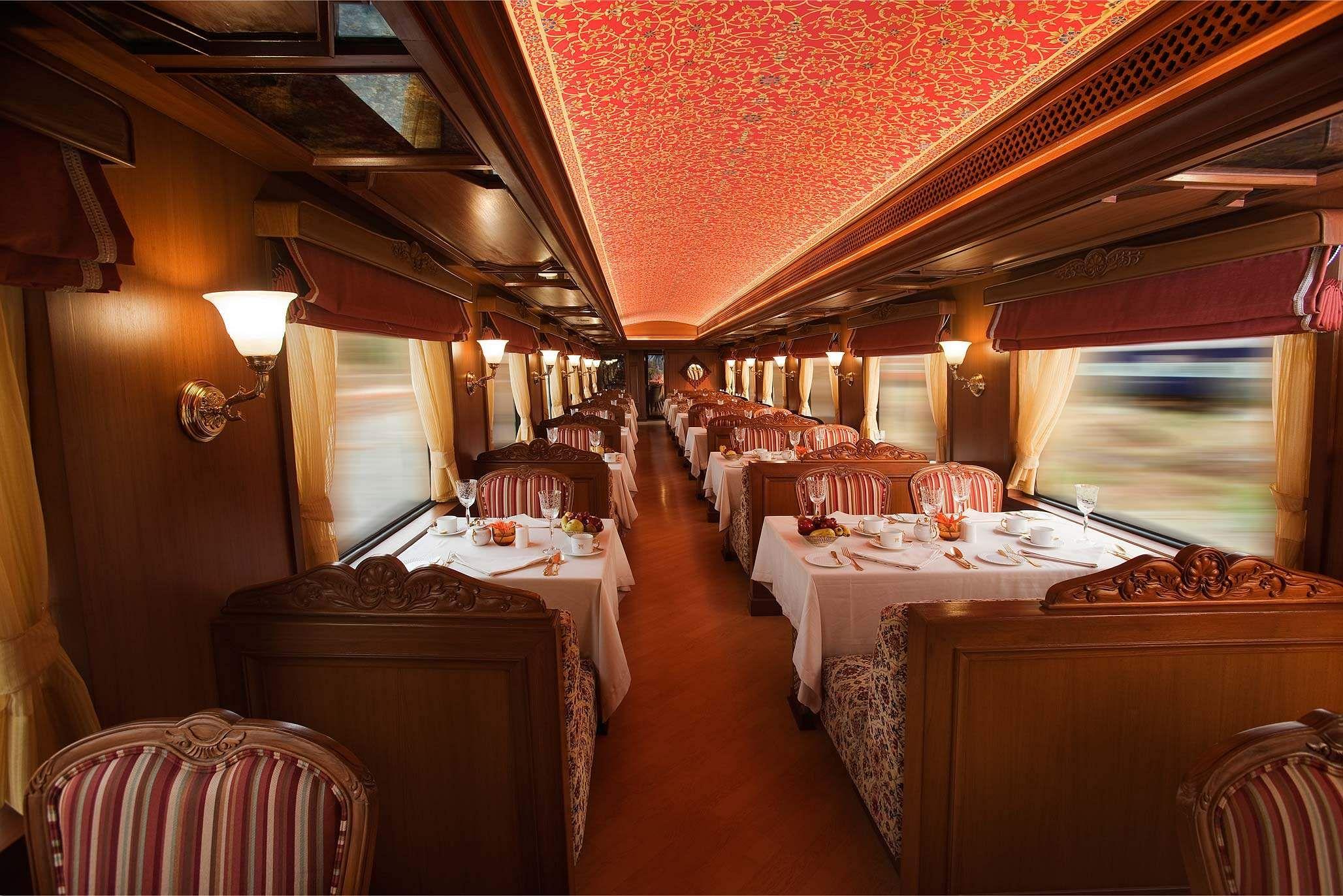 The Rangmahal restaurant on the Maharajas Express. The route of the Southern Sojourn journey is Mumbai – Goa – Hampi – Mysore – Cochin – Kumarakom – Trivandrum.