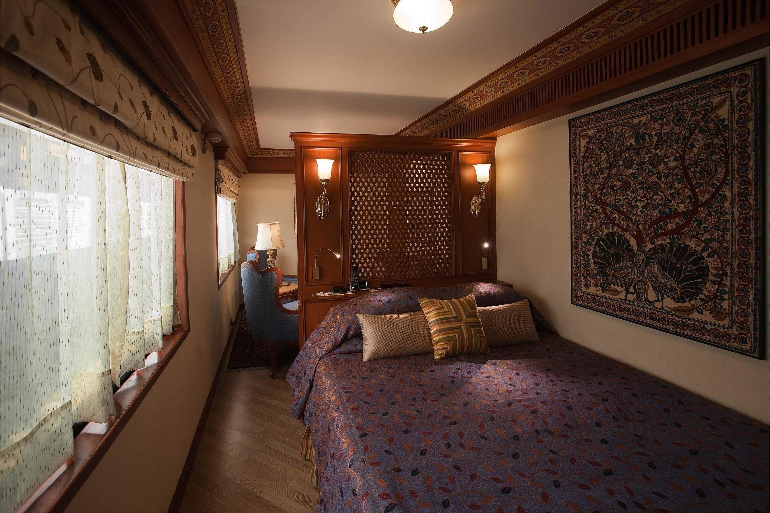 There are 14 passenger cabins aboard the Maharajas' Express; 5 deluxe cabins, 6 junior suites, 2 suites (seen here), and the majestic presidential suite. All the cabins come equipped with either twin beds or a double bed along with direct dial phones, LCD TVs, DVD players, internet, individual temperature control and electronic safe. An en-suite bathroom with shower is also available with the cabins.