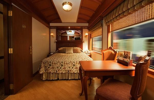 A look at the junior suite onboard the Maharajas Express. The tariff excluding service tax for one adult would be Rs 5,00,680  for deluxe cabin, Rs 7,23,420 (junior suite), Rs 10,09,330 (suite) and Rs 17,33,410 for a presidential suite, for the eight-day journey.