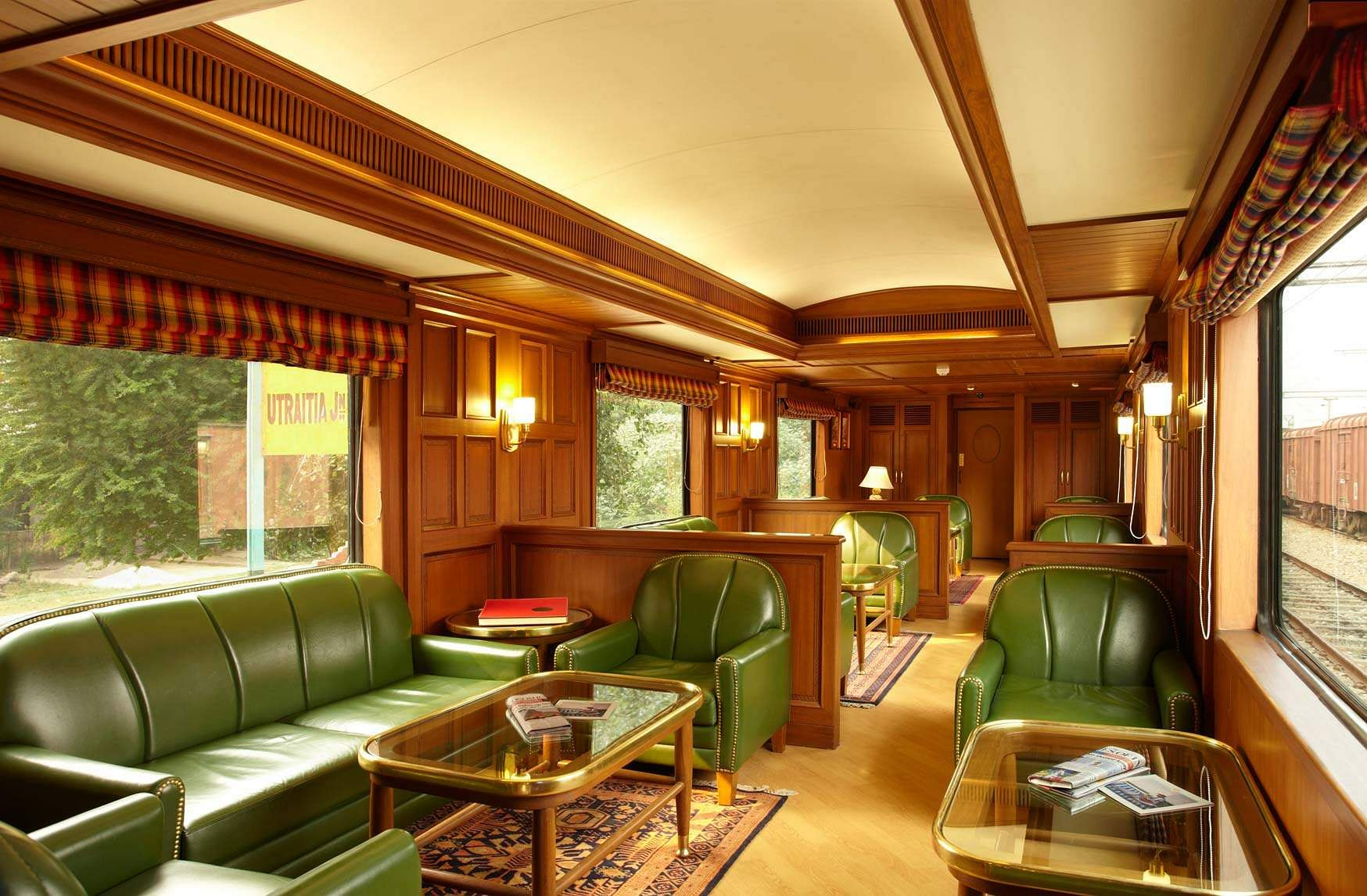 One of two bars on the luxury train, this is the Rajah Club, which is equipped with games tables and club arm-chairs and an en-suite bar. The Southern Jewels journey will cover Trivandrum, Chettinad, Thanjavur, Mahabalipuram, Mysore, Hampi, Go and Mumbai