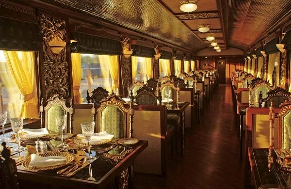 A view of the dining car, Peacock restaurant, onboard the luxury train. Maharajas' Express commenced its operations in 2010, and since then the train has become a leading luxury train in the world, with comparisons with the Royal Scotsman and the Eastern and Oriental Express. The train is a recipient of the coveted Leading Luxury Train of the World Award for the last five years in a row since 2012.