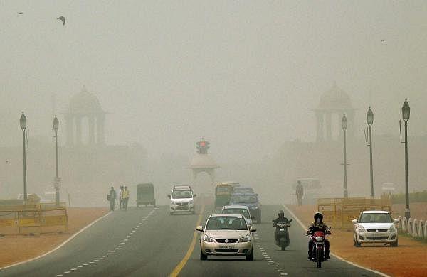 Vehicles on Rajpath in New Delhi.(Photo   PTI)