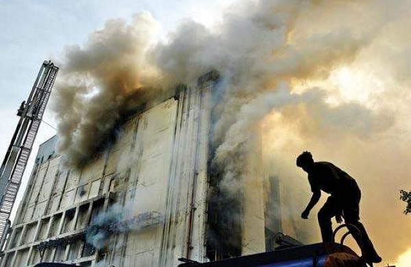 Image result for Watch: fire rages on at Chennai Silks in T.Nagar,A day after the seven-storied Chennai Silks