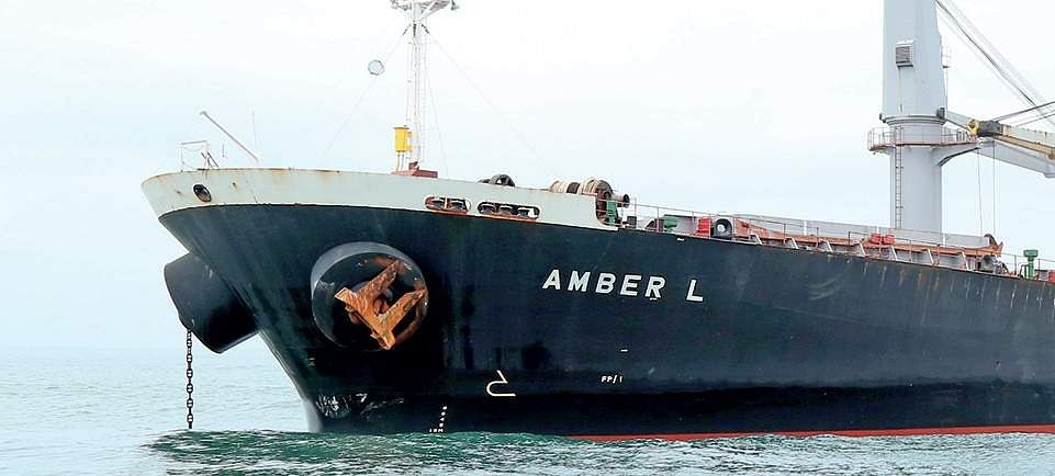 Panama-registered cargo vessel named Amber L that collided with a fishing boat Carmel Matha off Kochi.