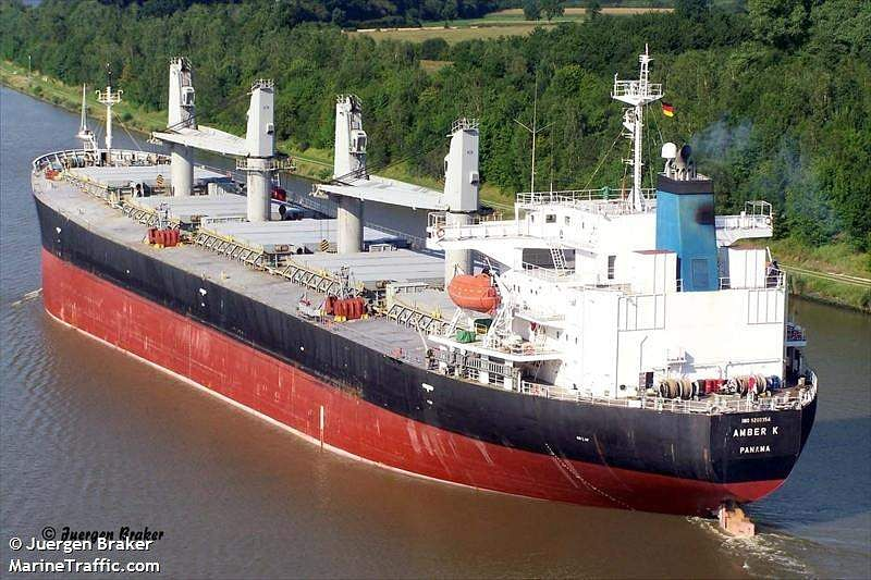 In Picture: Panama-registered bulk carrier Amber K at Kiel Canal.