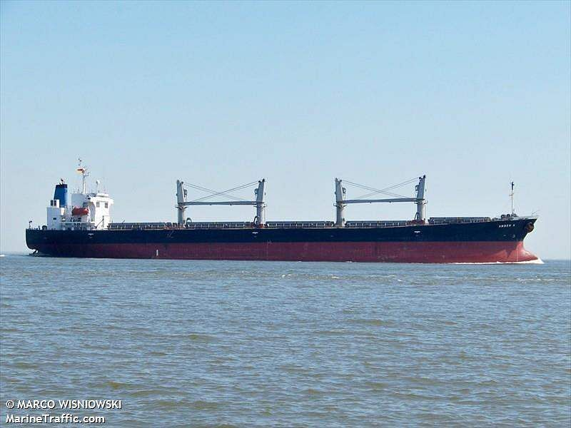 In Picture: Panama-registered bulk carrier Amber K at  Cruxhaven,Germany.