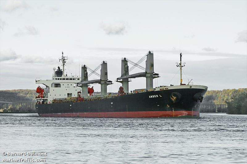 In Picture: Panama-registered bulk carrier Amber L at La Mailleraye, Seine river, France.