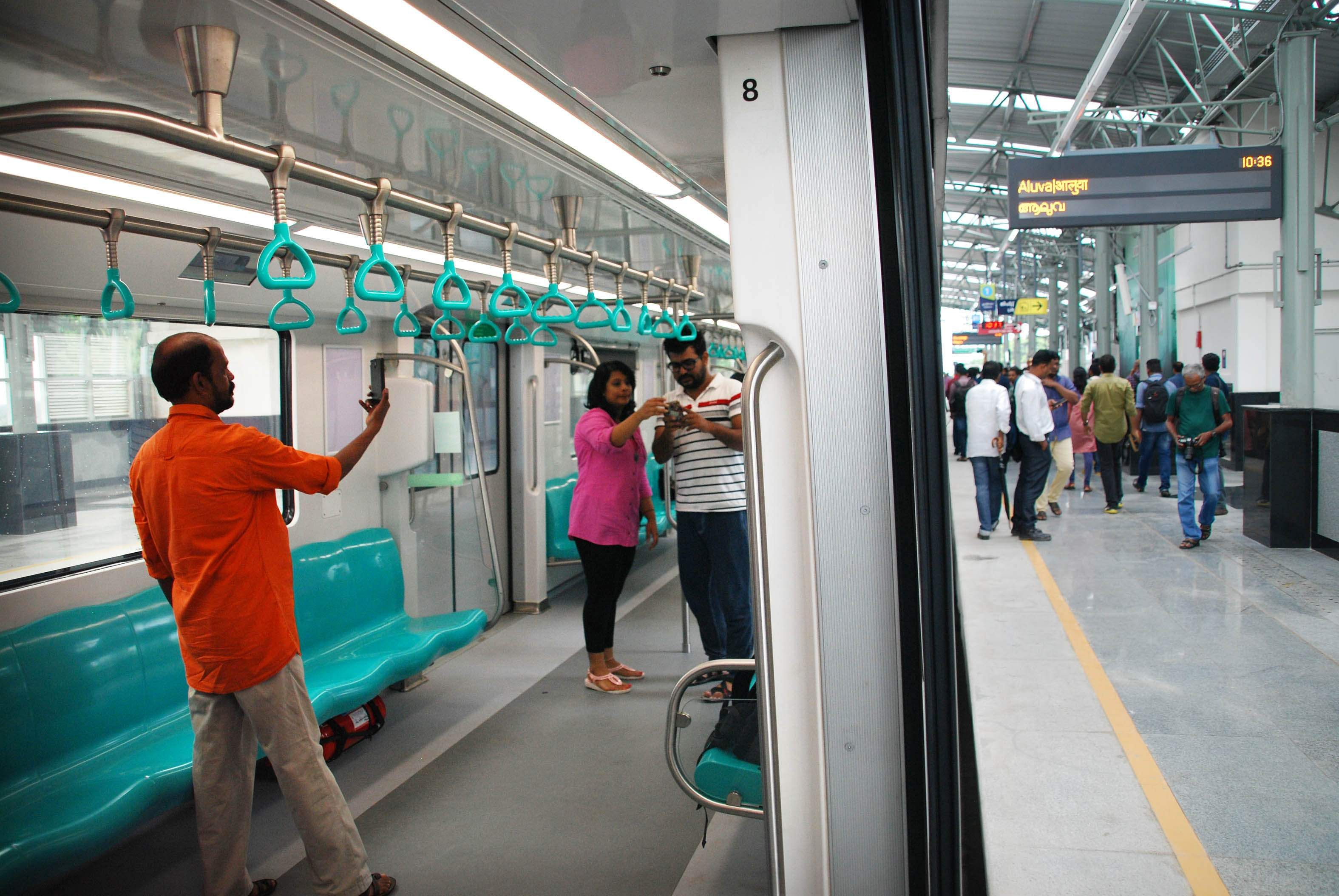 Selfie with the Metro: The Kochi Metro is unique in that its doors open to the sound of the classical Kerala percussion instrument - the Chenda. There will be free Wi-Fi too on the coaches and the stations. (Albin Mathew | EPS)
