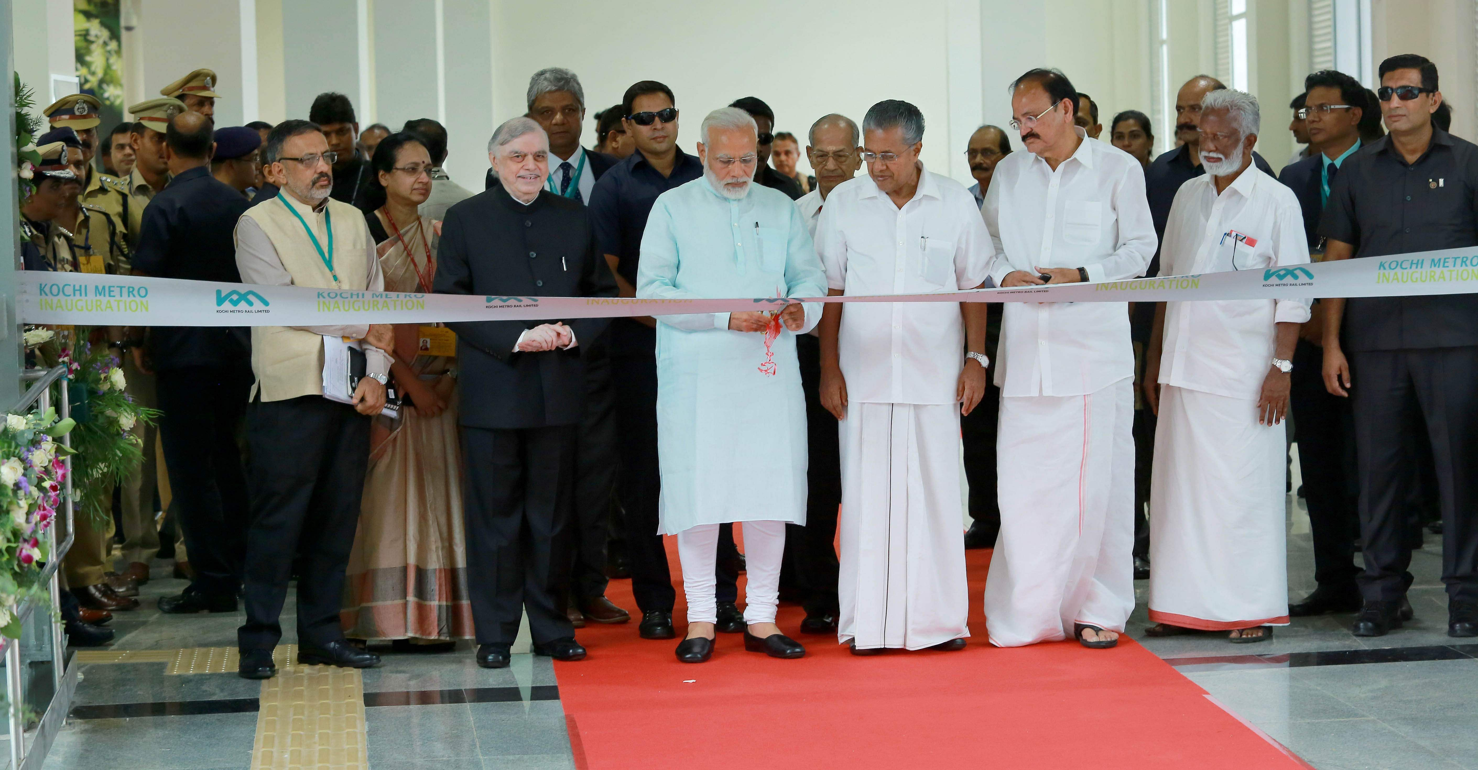 Prime Minister Narendra Modi inaugurated the Kochi Metro on June 17. He was accompanied by Kerala governor P Sathasivam, Union urban development minister Venkaiah Naidu and others.
