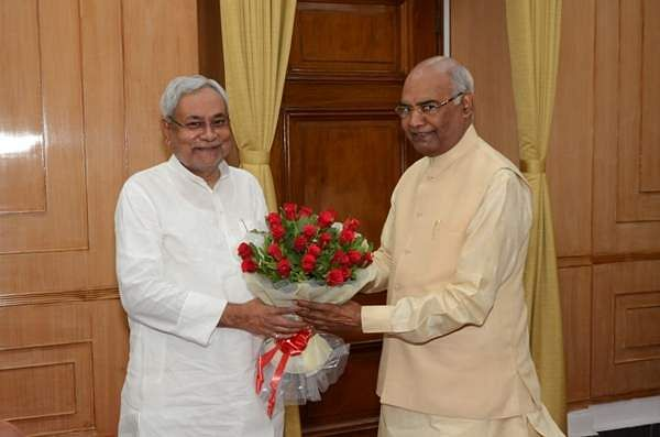 Chief Minister of Bihar in a courtsey meeting with H.E. the Governor of Bihar Shri Ram Nath Kovind at Raj Bhavan on June 01,2017.