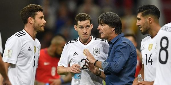 c67331e29 Germany coach Joachim Loew, second right, talks to players Jonas Hector,  Sebastian Rudy and Emre Can, from left, in a break during the  Confederations Cup, ...