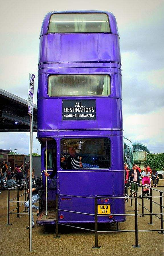 The Knight Bus is a purple triple-decker, specially modified AEC Regent III RT bus, used in the Harry Potter film series at Warner Bros. Studios, Leavesden, UK. (Photo | Wikimedia Commons)