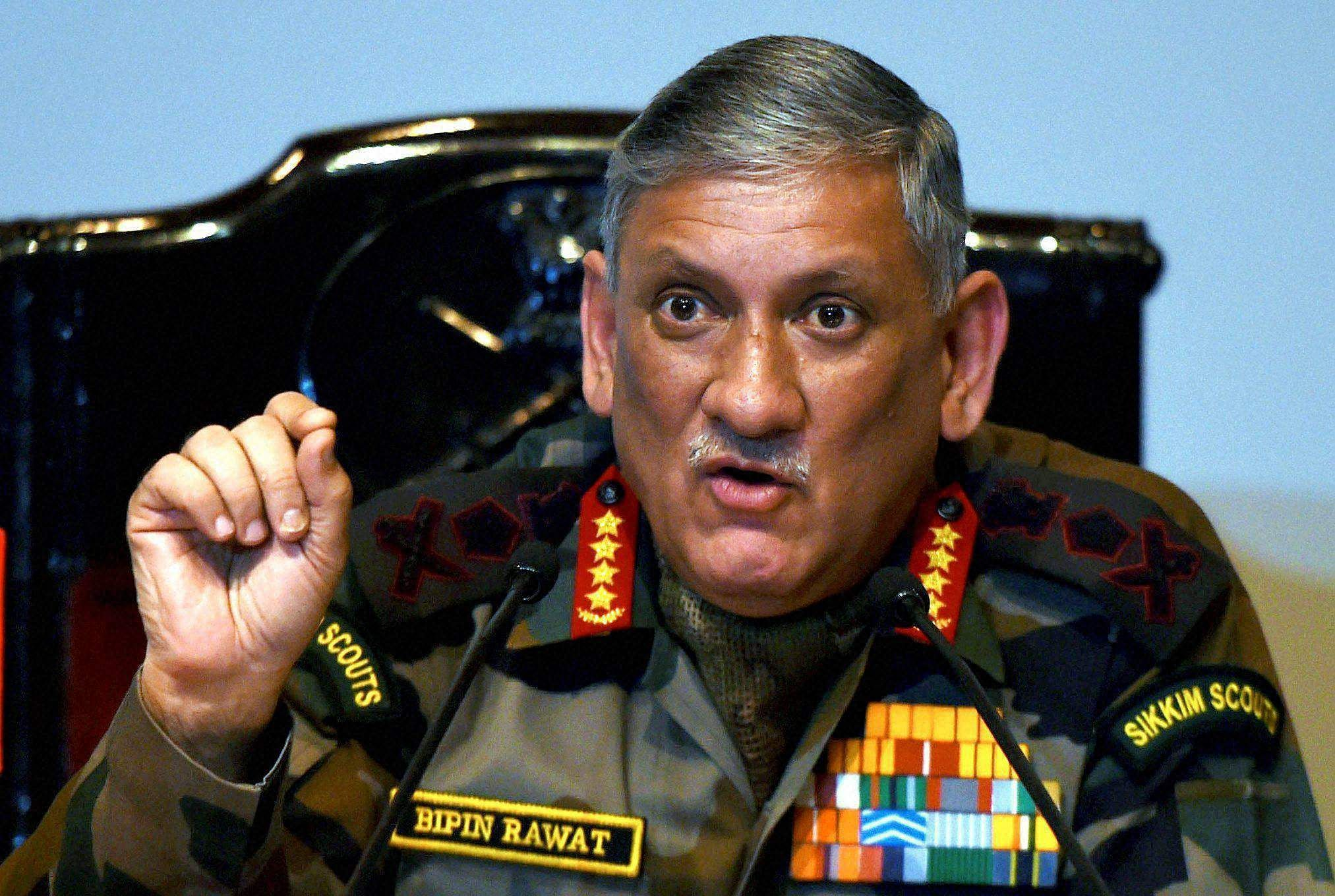Image result for Army Chief General Bipin Rawat's remarks