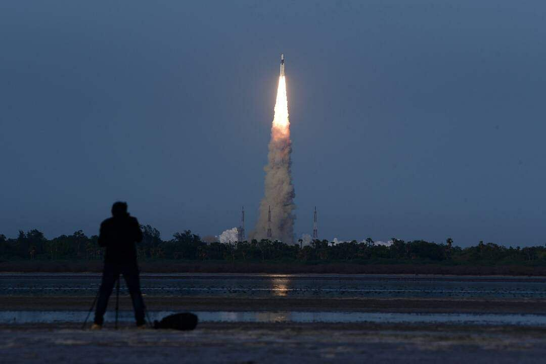India's Most Powerful Rocket, the GSLV MkIII, Launches Satellite into Low Orbit class=