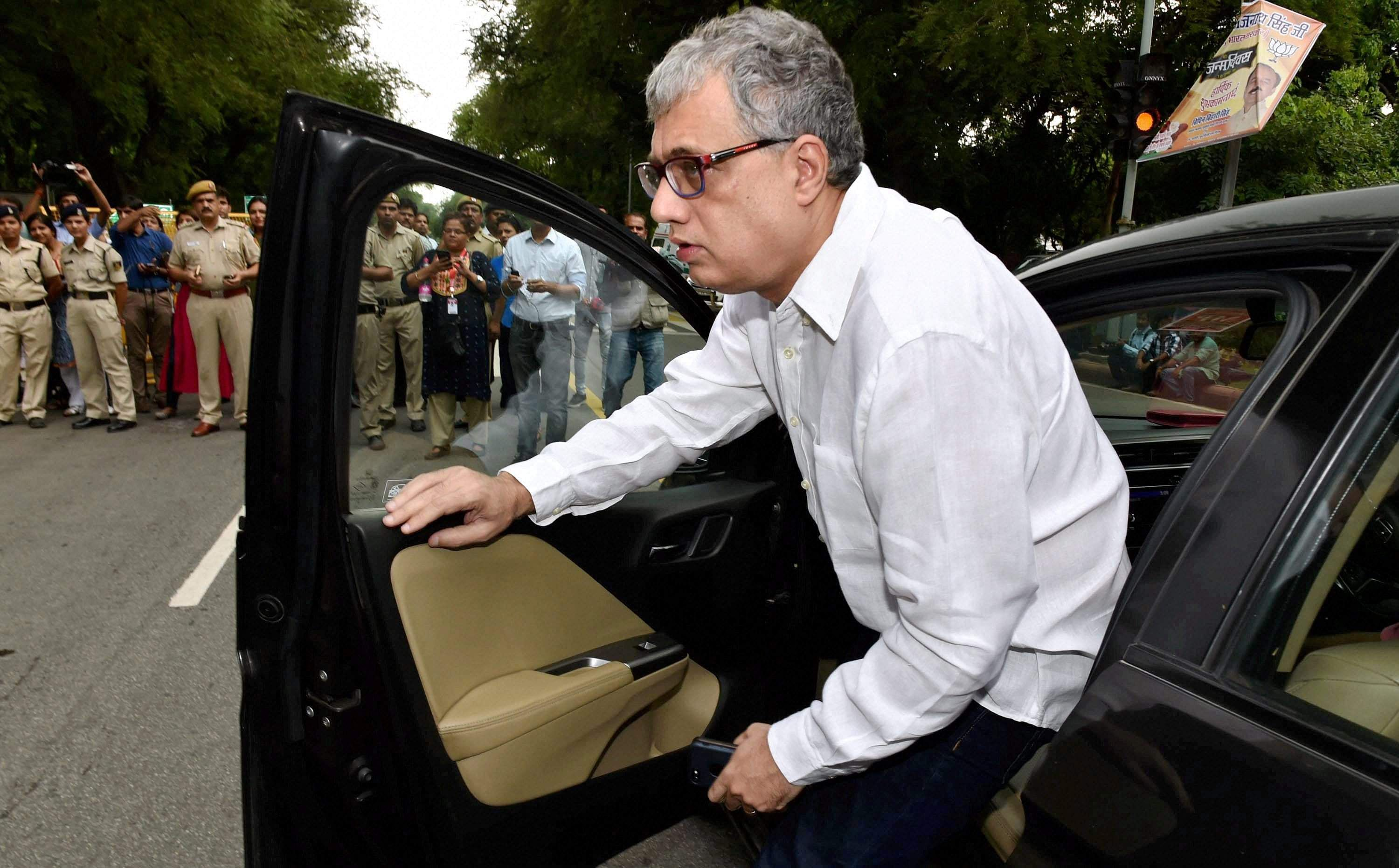 TMC leader Derek O'Brien arrives for All Party Meeting at Home Minister Rajnath Singh's residence in New Delhi on Friday. | PTI