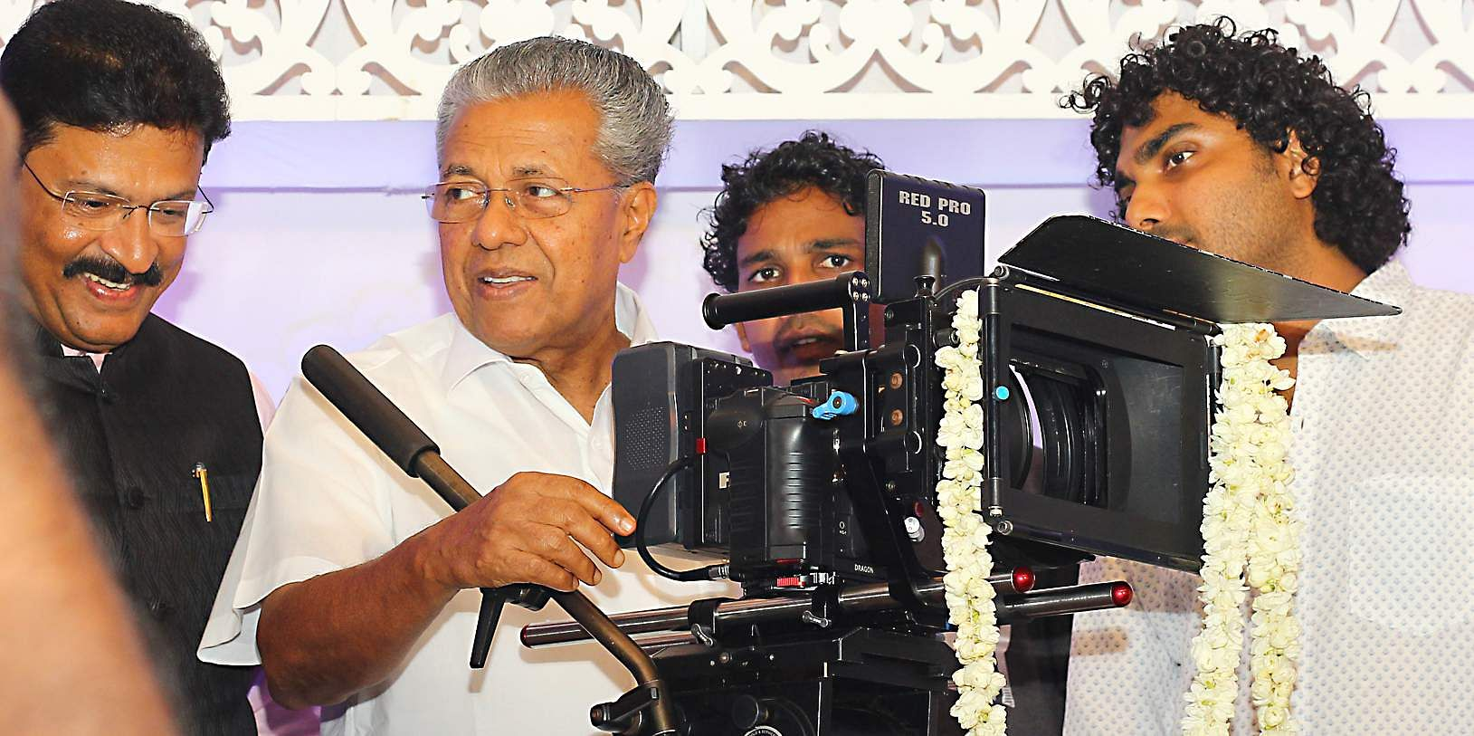 Kerala Chief Minister Pinarayi Vijayan graced the pooja ceremony of debutante Shravan Mukesh's film 'Kalyanam'. The budding actor is the son of estranged actors Mukesh and Saritha.   (Photo: Kaviyoor Santhosh | Express Photo Service)