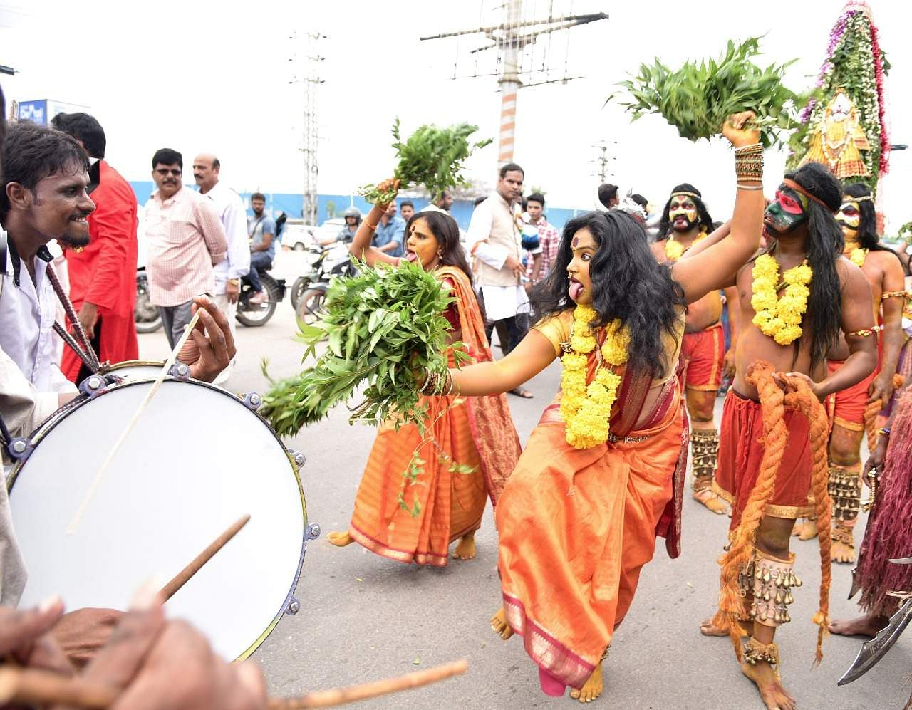 Bonalu in a simplified way means fest, an offering to the Mother Goddess.Varieties of traditional dishes are prepared during this festival.Women perform traditional dance on the streets, in the beats of drums. Many people take part in this procession.  (R.Satish Babu | Express Photo Service)