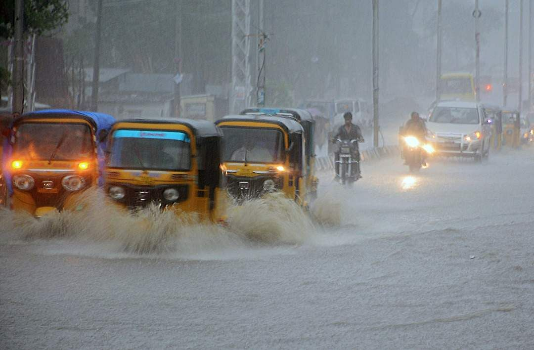 Flooded roads due to heavy rains at Sangareddy district, Telangana.
