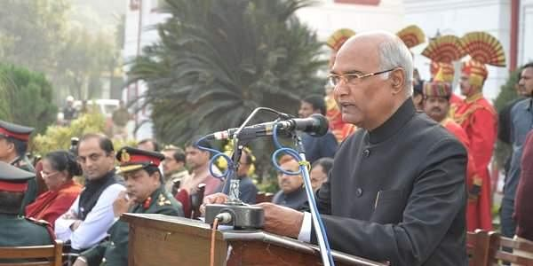 Governor of Bihar Shri Ram Nath Kovind addressing NCC cadets in a function at Raj Bhavan,Patna on February 02, 2017.