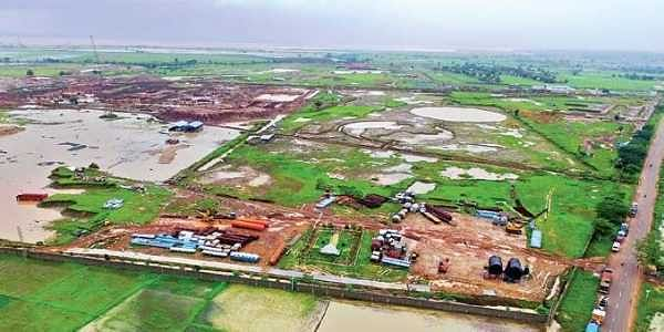 Bhadradri power plant surrounded by rain water near Manugur town in Bhadradri Kothagudem district on Monday | Express Photo