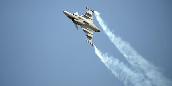 Sweden fighter aircraft Gripen during Aero India in Bengaluru on Thursday. (Pushkar V|EPS)