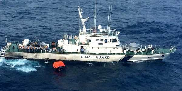 Coast Guard vessel ICGS Rajkamal reached the spot at around 5 PM and rescued the 11 crew members of cargo ship ITT Panther which sank off the coast of the Andaman islands