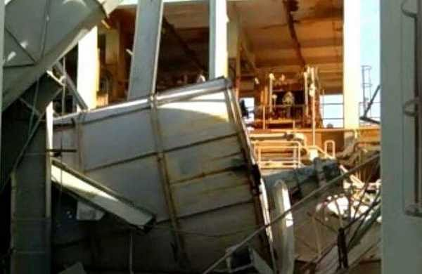 Acid plant of Travancore Titanium factory that collapsed on Friday.  (Express photo)