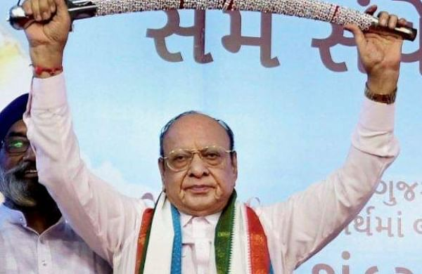Leader of opposition in Gujarat assembly Shankarsinh Vaghela at a public meeting of his supporters on his 77th birthday where he announced he was expelled from the Congress in Gandhinagar on Friday. | PTI