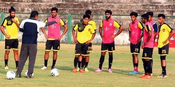 Gokulam FC players during a practice session. | Express Photo Service