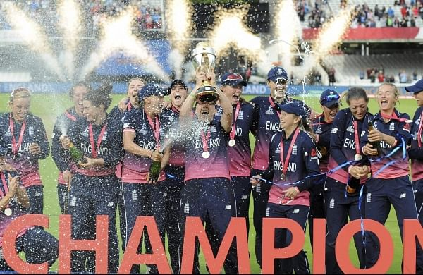 England players celebrate with trophy after winning the ICC Women's World Cup 2017 final match against India at Lord's in London England Sunday July 23 2017.  | AP