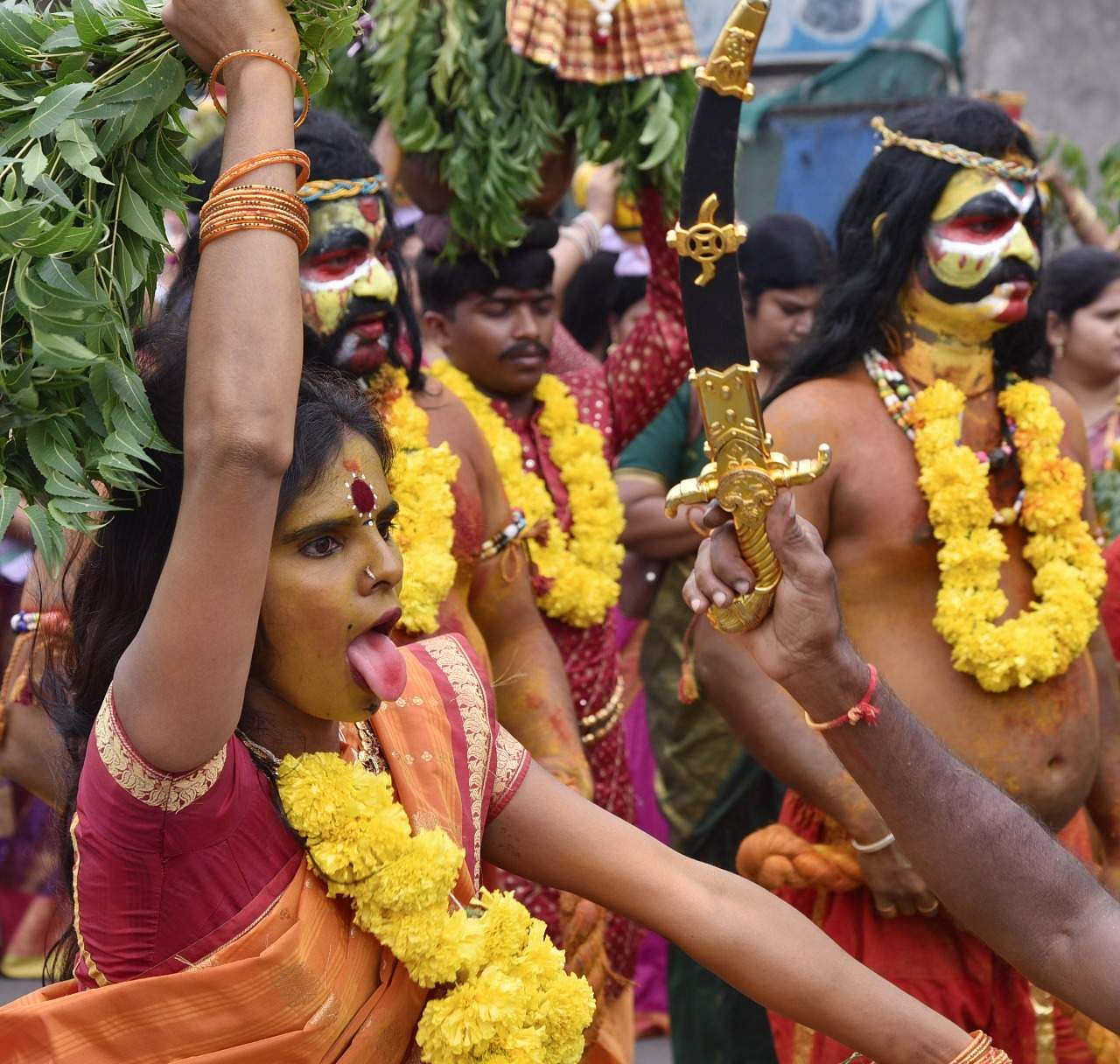 Bonalu is celebrated in the Ashada Masam (July/August) month of the Hindu calendar. People perform various rituals during this month. It is a thanksgiving month where people offer prayers to the Goddess Mahakali for the fulfillment of their wishes.  (R Satish Babu | Express Photo Service)
