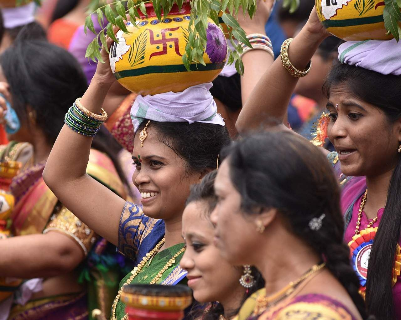 There are various beliefs about Bonalu. Some say the Bonalu origin traces back to the 19th century.  A plague had broken out in 1813, killing thousands of people. Just before the plague a Hyderabad military battalion was sent to Ujjain. When this battalion came to know about the epidemic that was spreading in their hometown, it is said that they prayed to Goddess Mahakali at the Mahakaleshwar Temple in  Ujjain. Devotees believe that the Goddess listened to their prayers and took away the plague, following which the battalion started celebrating the fest in her honour. Thus it became a tradition.  (R Satish Babu | Express Photo Service)