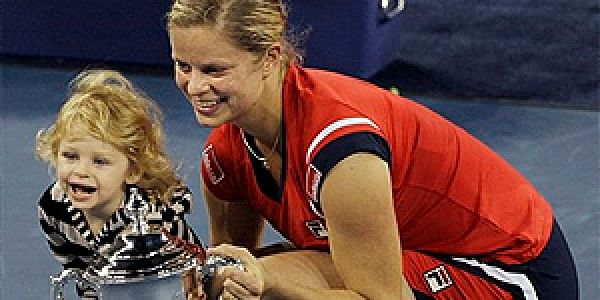 Kim Clijsters, of Belgium, with her 18-month-old daughter Jada after winning the women's championship at the US Open in 2009. | AP