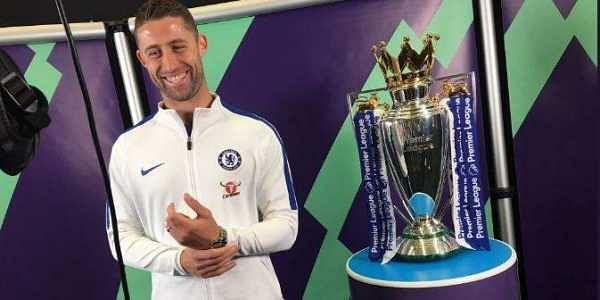 Defending champions Chelsea's captain Gary Cahill at the launch of the Premier League trophy | Twitter: @premierleague