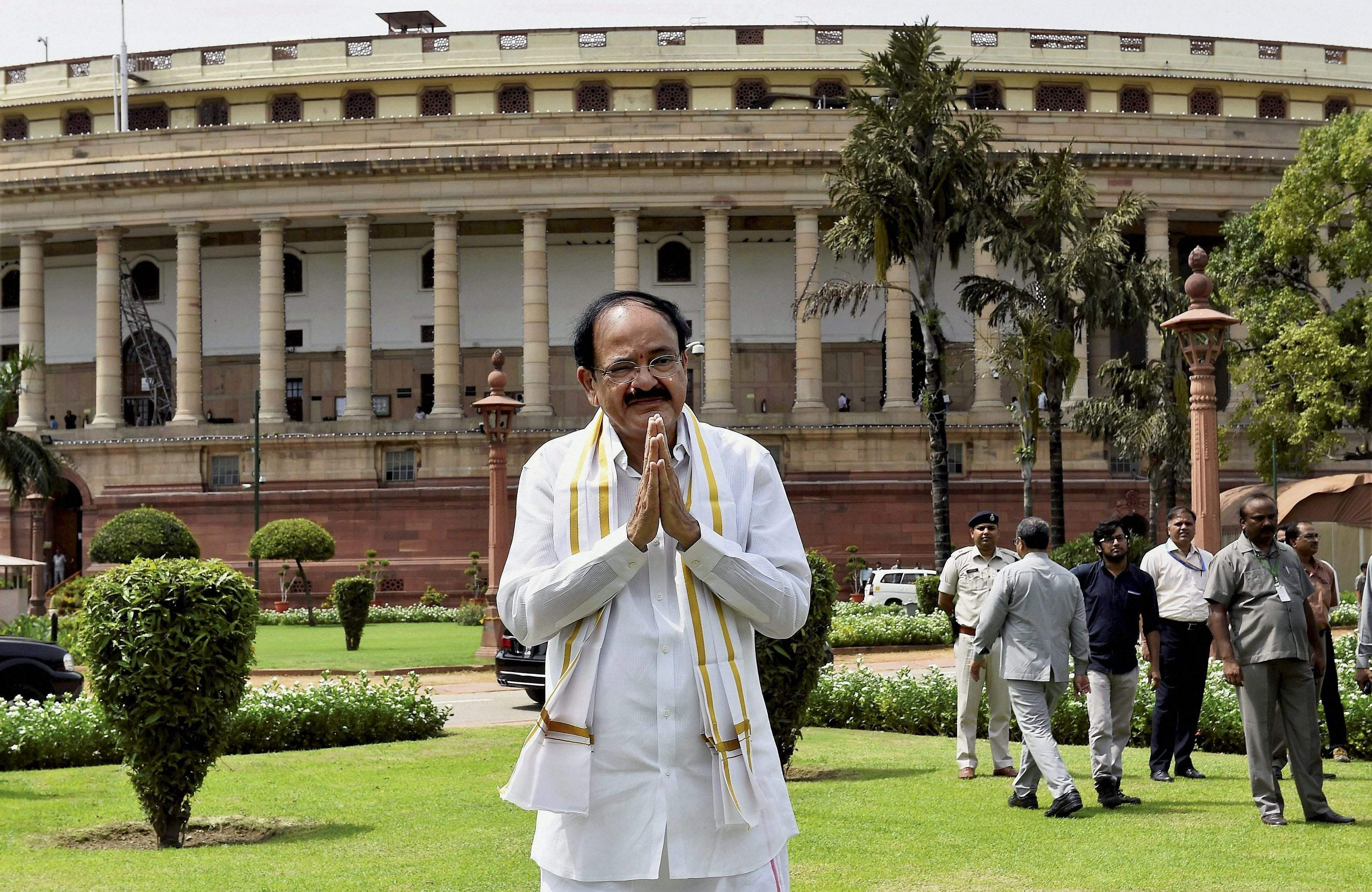 Venkaiah Naidu took the oath as India's Vice President on August 11 2017. He won the August 5 poll after defeating former West Bengal Governor and Mahatma Gandhi's grandson Gopalkrishna Gandhi.  ( Photo | PTI )