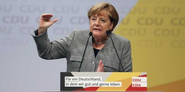 At Saturday's rally, Merkel cited another campaign slogan: 'Strengthening Europe means strengthening Germany.'