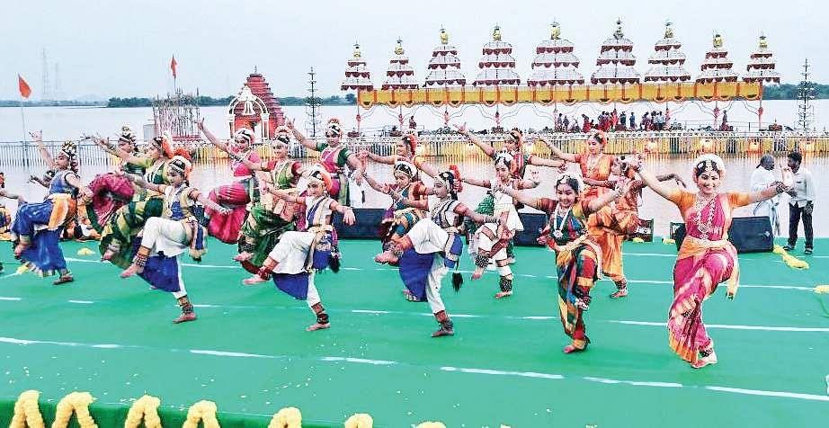 Artistes performing Kuchipudi dance at Pavitra Sangamam in Vijayawada on Saturday | Express