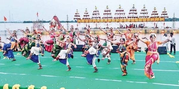 Artistes performing Kuchipudi dance at Pavitra Sangamam in Vijayawada on Saturday | Express