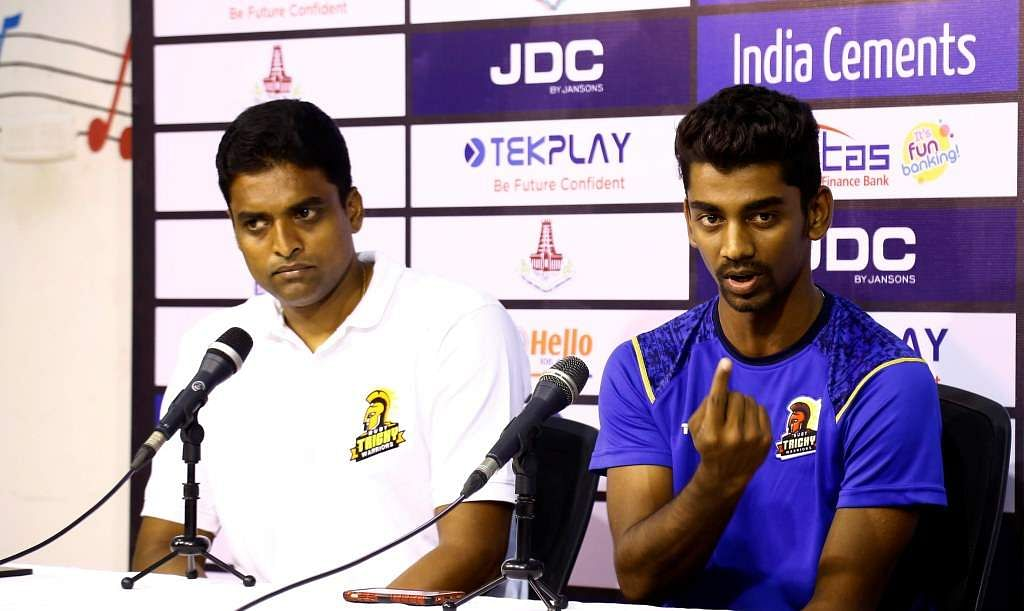 Ruby Trichy Warriors coach Tinu Yohannan and captain B Indrajith | Tamil Nadu Cricket Association official website