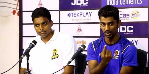 Ruby Trichy Warriors coach Tinu Yohannan and captain B Indrajith   Tamil Nadu Cricket Association official website